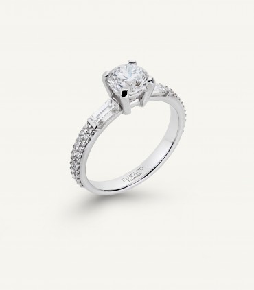 CASTEL SOLITAIRE RING full pavé 1.42 ct
