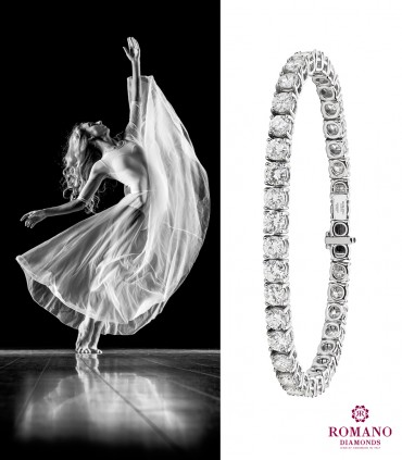 The tennis bracelet, the jewel with diamonds as symbol of pure and endless Love